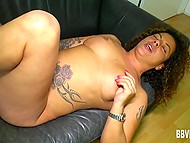 Tattooed dame carefully masturbates her trimmed vagina in the German scene 11