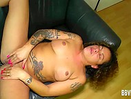 Tattooed dame carefully masturbates her trimmed vagina in the German scene 9