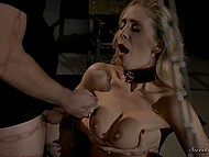 Busty honey with black collar gave deep blowjob and did everything possible to receive some hot sperm from the fucker 11