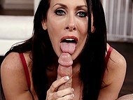 Dark-haired MILF has developed oral skills so she gives deepthroat blowjob