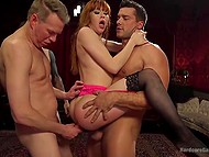 Awesome redhead easily endured severe double penetration then received semen mask during group fuck