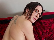 Glasses on nose and tattoo on back of babe turned pal on so he screwed that minx 8