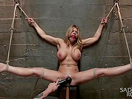Stacked MILF finally awaited for experienced debauchee's arrival that brought her thrills in the basement