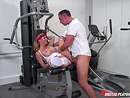 Big-boobied lady preferred to squirt and engage in wild sex to tedious workout in the gym