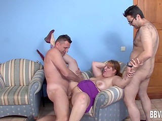 Well endowed BBW quickly brought two men to their limit in the German scene