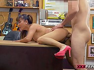 Athletic lovelace actively fucks Asian secretary in high heels on office table