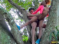 Black-skinned redhead with pierced nipples thoroughly penetrated in open air
