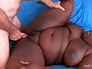 Voluptuous Ebony BBW in fishnet body stocking has sex with experienced inamorato