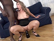 Mature lady wants to be fucked so before interracial action she prepares her anus with sex toy