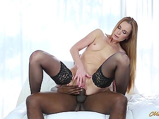 Lady in black stockings loves big caliber of cocks so she sucks and rides guy's shaft with pleasure