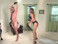 Crazy bitch plays with her man games of sexual domination using ropes, whip, and gag