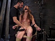 Man tied up slender beauty to chair and brought her thrills using electric shocker