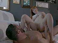 Red-haired artist gets horny because of naked guy and starts spontaneous intimate action