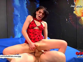 Slender German honey was actively nailed and thoroughly covered with fresh sperm in group sex video