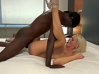 Black fucker was extremely excited with Finnish MILF's huge boobs and creampied her twice