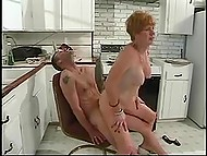 Old female with red hair needed to make a coffee for younger comrade but presented him cunt instead of it 9