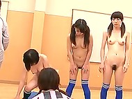 Team of naked Japanese footballers lost important match and they were punished in dressing room 7