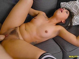 Long-haired Latina in striped stockings took part in awesome fuck with facial
