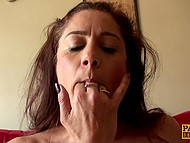 Buxom female in fashioned stockings launched forth on using deep throat right before wild fuck 4