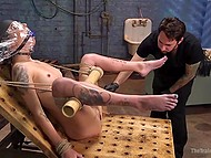 Tattooed good-time girl with small boobies got captured and punished in pervert's basement