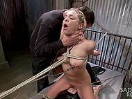 Debauchee put sexy blonde on Sybian machine and spanked her in basement
