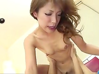 Two males fuck hairy pussy of skinny Japanese one by one to keep it wet non stop