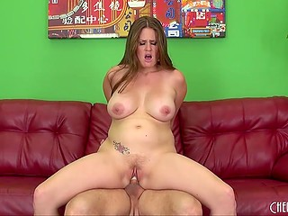 Buxom lady became happy when male erupted fresh sperm into her mouth after wild fuck