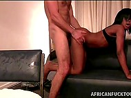 Curly macho brought young African chick to hotel and showed how good white cock is