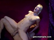 Small-waisted beauty got trimmed vagina penetrated and creampied in dark place