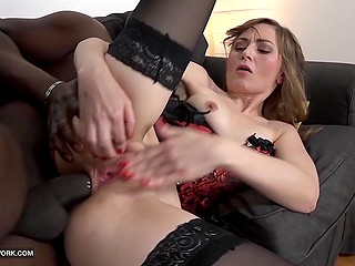Small-waisted chick in erotic lingerie stimulated asshole with dildo before serving big black cock