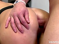 Bald macho didn't fail to use chance to fuck that passionate babes and cover her glasses with sperm 8