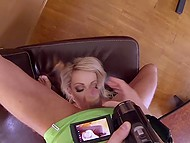 Uninvited guest distracted unmatched secretary Chessie Kay from working in British video 5