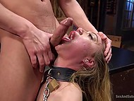 Slutty beauty with collar and in black stockings got into experienced debauchee's hands