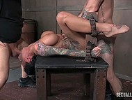 Perverted pals chained up several lusty babes and forced them to cum profusely