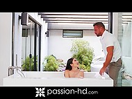 Muscular buddy joined pretty brunette who was masturbating in bathroom and fucked her 5