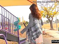 Slender cutie from Asia doesn't put on lingerie and flashes pussy on playground outdoors 3