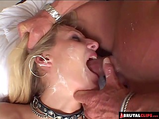Man smeared hussy's face with cream and poked her mouth with cock so violently that she almost suffocated