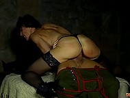 After outdoor blowjob, MILF and her handsome swain dressed in lederhosen move to cellar to continue hot sex 8