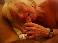 Old blonde-haired woman still has enough forces to present nice blowjob to younger pervert