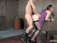 Dominant pals have two tied up lassies in BDSM cellar and screw them from both sides by turns 10