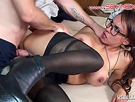 Gallant man gave several kisses and roughly penetrated unmatched girl in black pantyhose 4