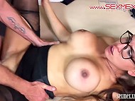 Gallant man gave several kisses and roughly penetrated unmatched girl in black pantyhose 9