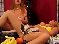 Danish lesbians with huge boobs lay down on the table using bananas and cucumbers to polish pussies