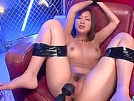 Suntanned Japanese honey got excited by vibrators before getting facialized