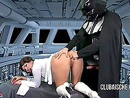 Severe Darth Vader forced full-bosomed princess Leia to bring him to ejaculation 5