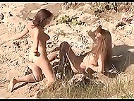 Curious voyeur with camera records long-haired man fucking ardently his skinny girlfriend on the beach 6