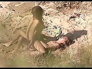 Curious voyeur with camera records long-haired man fucking ardently his skinny girlfriend on the beach 8