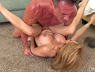Load of cum covered giant boobs of golden-haired MILF at the end of vigorous sex with bruiser 5