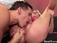 Blonde whore with pierced nipples realizes she has no choice but to let gym rat fuck her pussy