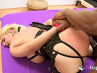 Buxom female in fishnet stockings enjoys anal sex with black lovelace in Spanish scene